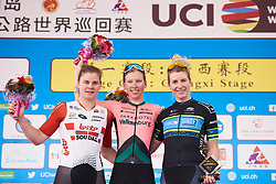Top three: Lorena Wiebes (NED), Lotte Kopecky (BEL) and Nina Kessler (NED) at Tour of Chongming Island 2019 - Stage 1, a 102.7 km road race on Chongming Island, China on May 9, 2019. Photo by Sean Robinson/velofocus.com