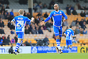Calvin Andrew goal celebration 3-1 during the Sky Bet League 1 match between Port Vale and Rochdale at Vale Park, Burslem, England on 23 April 2016. Photo by Daniel Youngs.