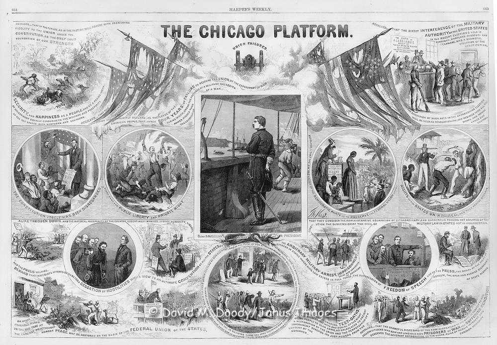 Civil War : October 29, 1864 Harper's Weekly Presidential politics attacking the Chicago Democratic Platform emphasizing the evils of slavery and the sacrifices so far in the war. By Thomas Nast