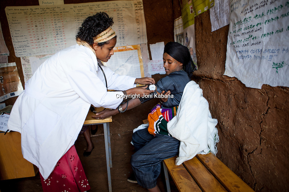 A Hamlin midwife works at a healthpost near Bahir Dar, Ethiopia. She walks up to three hours each way to get to some of her healthposts.