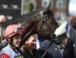 LIVERPOOL, ENGLAND, Thursday, April 7, 2011: Ruby Walsh, winner of the opening race, with Big Buck's, during Liverpool Day on Day One of the Aintree Grand National Festival at Aintree Racecourse. (Photo by David Tickle/Propaganda)