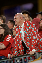 NEW YORK, NEW YORK, USA - Wednesday, July 24, 2019: A Liverpool supporter wearing a suit with Liverpool crests printed on it during a friendly match between Liverpool FC and Sporting Clube de Portugal at the Yankee Stadium on day nine of the club's pre-season tour of America. (Pic by David Rawcliffe/Propaganda)