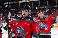 KELOWNA, BC - NOVEMBER 1:  Mark Liwiski #9 of the Kelowna Rockets heads for the dressing room after the win against the Prince George Cougars at Prospera Place on November 1, 2019 in Kelowna, Canada. (Photo by Marissa Baecker/Shoot the Breeze)