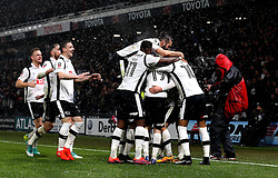 Derby County celebrate Craig Bryson of Derby County scoring a goal against Leicester City in the FA Cup - Mandatory by-line: Robbie Stephenson/JMP - 27/01/2017 - FOOTBALL - iPro Stadium - Derby, England - Derby County v Leicester City - Emirates FA Cup fourth round