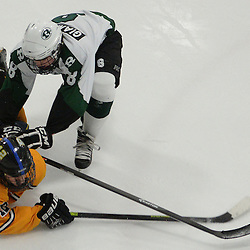 Staff photos by Tom Kelly IV<br /> Springfield's Tom Coll (12) is checked to the ground by Ridley's Michael Giampapa (8) during the Springfield vs Ridley ice hockey game at Ice Works in Aston, Thursday night.