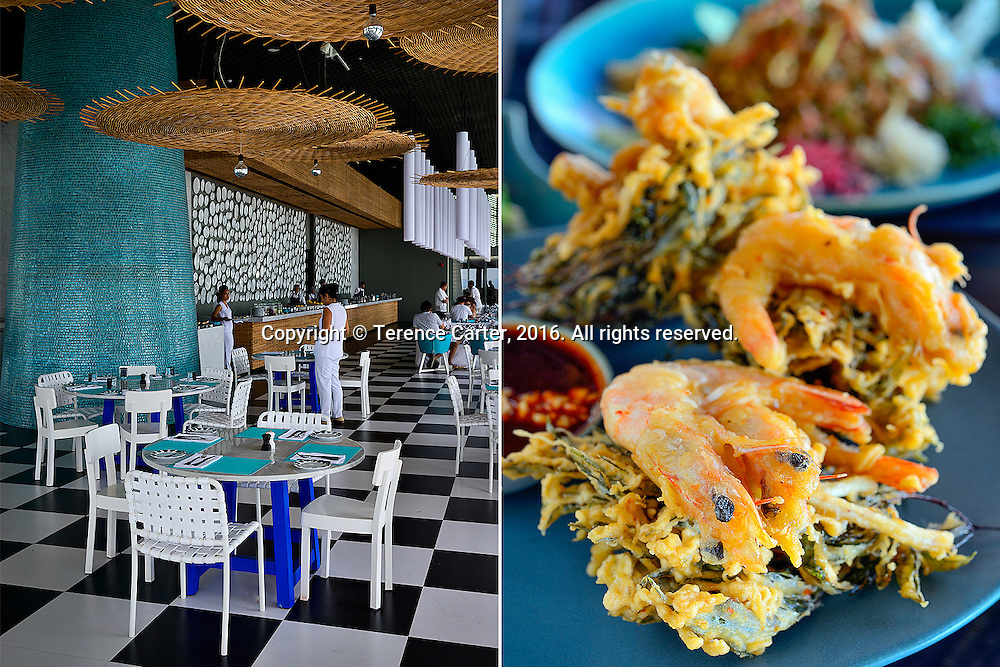 La Sirena restaurant, Point Yamu by COMO (L). Spiced shrimp with legkrut leaf pakora. Nahmyaa Thai restaurant (R). Point Yamu by COMO. Phuket, Thailand. Copyright 2016 Terence Carter / Grantourismo. All Rights Reserved.