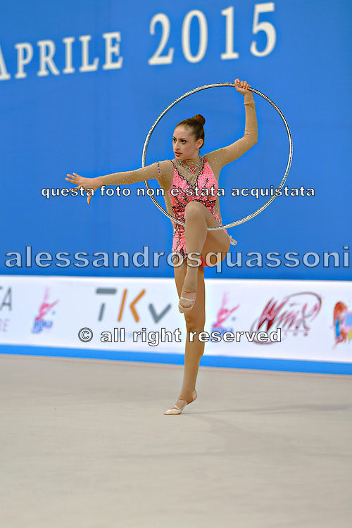 Diaz Karla during qualifying at hoop in Pesaro World Cup 10 April 2015.<br /> Karla born 5 July, 1995 in Mexico City is a Mexican individual rhythmic gymnast.