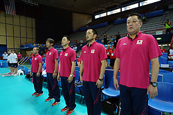 Japan coach Manabe Masayoshi with his staff