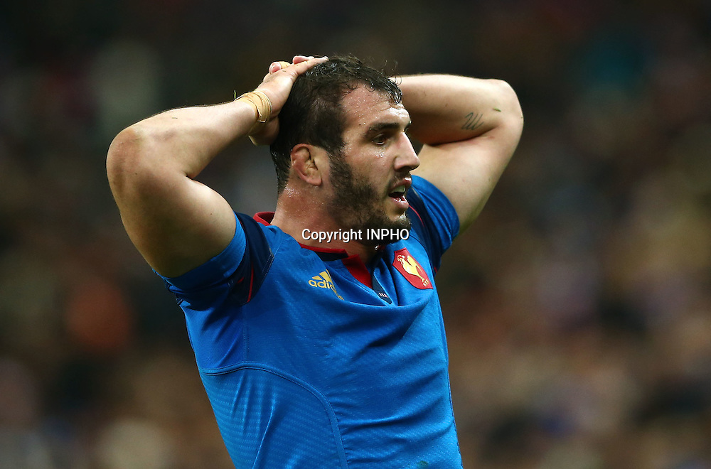 RBS 6 Nations Championship Round 5, Stade de France, Paris, France 19/3/2016<br /> France vs England<br /> France's Yoann Maestri dejected<br /> Mandatory Credit &copy;INPHO/James Crombie