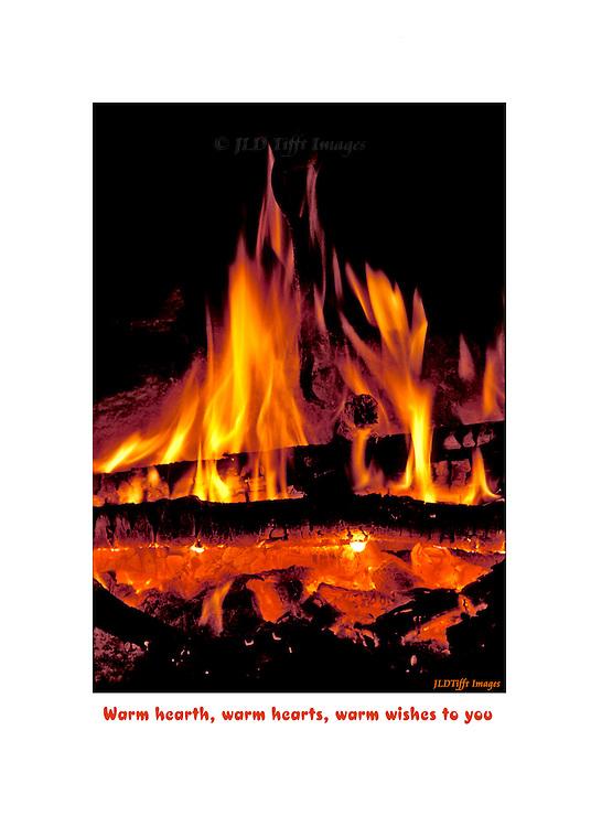 Blazing log fire on a hearth