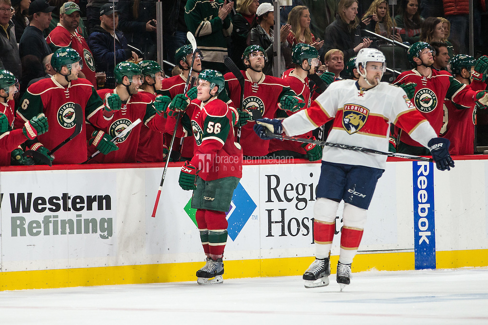 Dec 13, 2016; Saint Paul, MN, USA; Minnesota Wild forward Erik Haula (56) celebrates his goal with teammates during the second period against the Florida Panthers at Xcel Energy Center. Mandatory Credit: Brace Hemmelgarn-USA TODAY Sports