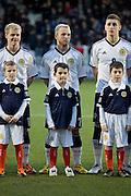 Scotland's Johnathon Russell and mascot - Scotland v Holland - UEFA U21 European Championship qualifier at St Mirren Park..© David Young - .5 Foundry Place - .Monifieth - .Angus - .DD5 4BB - .Tel: 07765 252616 - .email: davidyoungphoto@gmail.com.web: www.davidyoungphoto.co.uk
