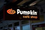 Pumpkin cafe shop sign at railway station, Colchester, Essex, England, UK