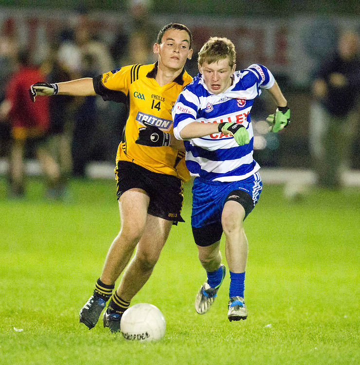 u15 Football League Division 1 Final 01/10/10.Navan O`Mahonys vs St Peter & Pauls, Dunboyne.Keith Doyle (Dunboyne) & Sean McEntaggart (OMahonys).Photo: David Mullen /www.cyberimages.net