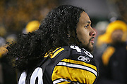 PITTSBURGH - JANUARY 23:  Safety Troy Polamalu #43 of the Pittsburgh Steelers on the bench during the AFC Championship game against the New England Patriots at Heinz Field on January 23, 2005 in Pittsburgh, Pennsylvania. The Pats defeated the Steelers 41-27. ©Paul Anthony Spinelli  *** Local Caption *** Troy Polamalu
