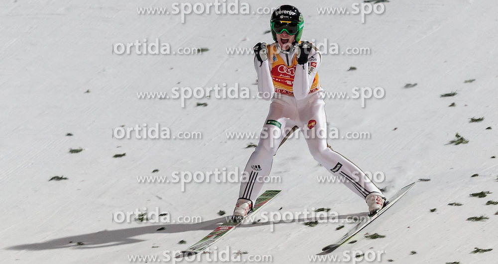 06.01.2016, Paul Ausserleitner Schanze, Bischofshofen, AUT, FIS Weltcup Ski Sprung, Vierschanzentournee, Bischofshofen, Finale, im Bild Peter Prevc (SLO) jubelt über den Gesamtsieg // Peter Prevc (SLO) celebrate the overall winner after his final jump of the Four Hills Tournament of FIS Ski Jumping World Cup at the Paul Ausserleitner Schanze in Bischofshofen, Austria on 2016/01/06. EXPA Pictures © 2016, PhotoCredit: EXPA/ JFK