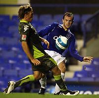 Photo: Paul Thomas.<br />Everton v Werder Bremen. Pre Season Friendly. 31/07/2007.<br /><br />James McFadden (R) of Everton crosses.