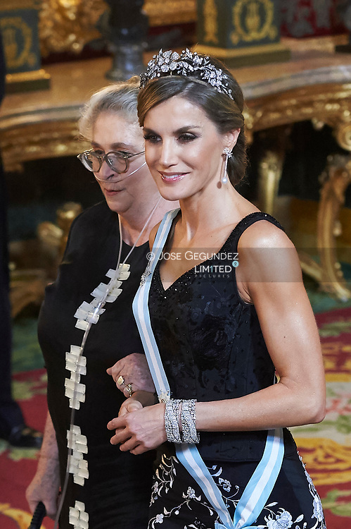 Queen Letizia of Spain, Nechama Rivlin attended a Gala dinner at the Royal Palace on November 6, 2017 in Madrid, Spain