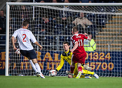 Falkirk's keeper Michael McGovern saves from Jonny Hayes.<br /> Falkirk 0 v 5 Aberdeen, the third round of the Scottish League Cup.<br /> &copy;Michael Schofield.