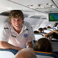 St Johnstone v Eskisehirspor....18.07.12  Uefa Cup Qualifyer<br /> Murray Davidson on the flight out to Turkey<br /> Picture by Graeme Hart.<br /> Copyright Perthshire Picture Agency<br /> Tel: 01738 623350  Mobile: 07990 594431