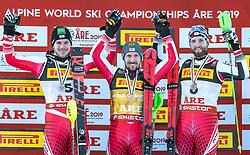 17.02.2019, Aare, SWE, FIS Weltmeisterschaften Ski Alpin, Slalom, Herren, Siegerehrung, im Bild v.l.: Silbermedaillengewinner Michael Matt (AUT), Weltmeister und Goldmedaillengewinner Marcel Hirscher (AUT), Bronzemedaillengewinner Marco Schwarz (AUT) // f.l.: Silver medalist Michael Matt of Austria World champion and gold medalist Marcel Hirscher of Austria Bronze medalist Marco Schwarz of Austria during the winner Ceremony for the men's Slalom of FIS Ski World Championships 2019. Aare, Sweden on 2019/02/17. EXPA Pictures © 2019, PhotoCredit: EXPA/ Dominik Angerer