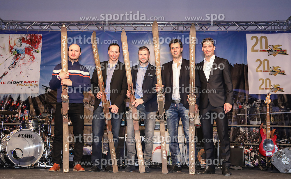 23.01.2017, Planai, Schladming, AUT, FIS Weltcup Ski Alpin, Slalom, Herren, Charity Night, im Bild v.l.: die Nightrace-Sieger Alexander Khoroshilov (RUS), Manfred Pranger (AUT), Reinfried Herbst (AUT), Mario Matt (AUT), Benjamin Raich (AUT) // f.l.: the nightrace-winners Alexander Khoroshilov of Russia, Manfred Pranger of Austria, Reinried Herbst of Austria, Michael Matt of Austria, Benjamin Raich of Austria during the Charity Night prior to the Schladming FIS Ski Alpine World Cup 2017 at the Planai in Schladming, Austria on 2017/01/23. EXPA Pictures © 2017, PhotoCredit: EXPA/ Martin Huber