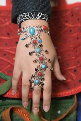 Elaborate jewellery on the hand of a pupil at the Nottingham Islamia school Eid Fair,