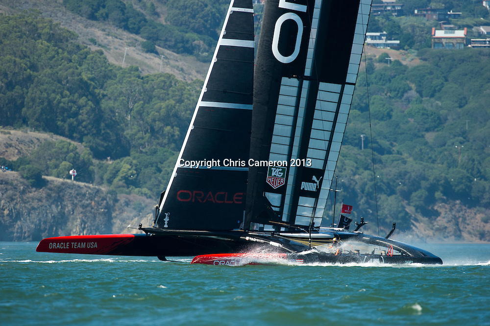 Oracle Team USA in the box for race 17.  America's Cup 34. 24/9/2013