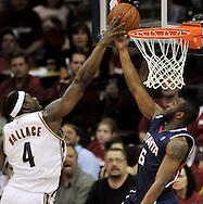 Cleveland Cavaliers forward Ben Wallace blocks a shot attempt by Mario West of Atlanta.