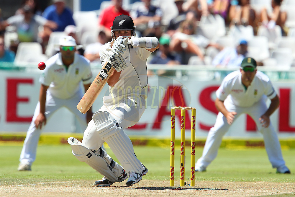 Trent Boult avoids a high delivery from Dale Steyn during the 3rd day of the 1st Sunfoil Test match between South Africa and New Zealand held at Newlands Stadium in Cape Town, South Africa on the 4th January 2013..Photo by Ron Gaunt/SPORTZPICS .
