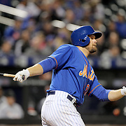 NEW YORK, NEW YORK - APRIL 11: Lucas Duda, New York Mets, batting during the Miami Marlins Vs New York Mets MLB regular season ball game at Citi Field on April 11, 2016 in New York City. (Photo by Tim Clayton/Corbis via Getty Images)