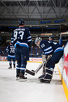 PENTICTON, CANADA - SEPTEMBER 9: Francis Beauvillier #93 and Mikhail Berdin #60 of Winnipeg Jets leans on the boards during warm up against the Edmonton Oilers on September 9, 2017 at the South Okanagan Event Centre in Penticton, British Columbia, Canada.  (Photo by Marissa Baecker/Shoot the Breeze)  *** Local Caption ***