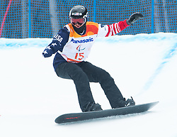 March 16, 2018 - Pyeongchang, South Korea - JAMES SIDES of the US on his second run in the Snowboard Banked Slalom event at Jeongseon Alpine Center at the Pyeongchang Winter Paralympic Games.  (Credit Image: © Mark Reis via ZUMA Wire)