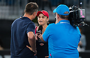 Ashleigh Barty of Australia after winning her quarter-final match at the 2020 Adelaide International WTA Premier tennis tournament against Marketa Vondrousova of the Czech Republic. Photo Rob Prange / Spain ProSportsImages / DPPI / ProSportsImages / DPPI