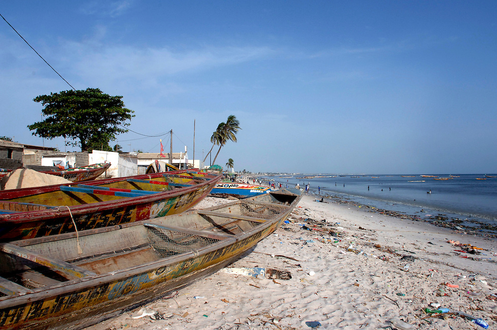 Senegal October 25,2006 - Colorful Fishing Boats on beach in Dakar ©Jean-Michel Clajot