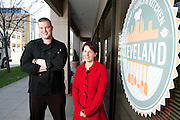 Tim Skaryd, left, and Carolyn Priemer, right, organizers of the Cleveland Culinary Launch & Kitchen on April 18, 2013.