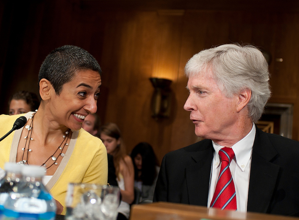 """Jul 27, 2010 - Washington, District of Columbia, U.S., -.ZAINAB SALBI, founder and CEO of Women for Women International  and RYAN CROCKER, dean and executive professor at Texas A&M University's George Bush School of Government and Public Service, talk before a Senate Foreign Relations Committee hearing on the """"Perspectives on Reconciliation Options in Afghanistan.""""(Credit Image: © Pete Marovich/ZUMA Press)"""