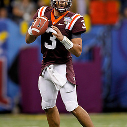 January 3, 2012; New Orleans, LA, USA; Virginia Tech Hokies quarterback Logan Thomas (3) against the Michigan Wolverines during the Sugar Bowl at the Mercedes-Benz Superdome. Michigan defeated Virginia 23-20 in overtime. Mandatory Credit: Derick E. Hingle-US PRESSWIRE