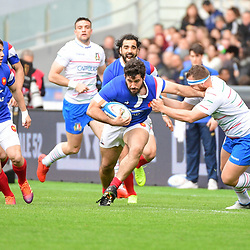 (L-R) Etienne Falgoux of France takes on Andrea Lovootti of Italy during the Guinness Six Nations match between Italy and France on March 16, 2019 in Rome, Italy. (Photo by Dave Winter/Icon Sport)