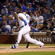 June 19, 2017 - Chicago, IL, USA - Chicago Cubs second baseman Javier Baez (9) doubles against the San Diego Padres during the fifth inning on Monday, June 19, 2017 at Wrigley Field in Chicago, Ill. (Credit Image: © Nuccio Dinuzzo/TNS via ZUMA Wire)