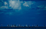 Sailboats awaiting a Caribbean storm, Eagle Beach, Aruba