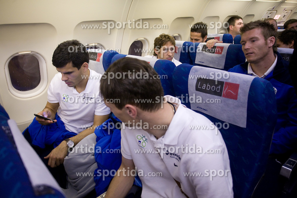 Aleksander Radosavljevic, Milivoje Novakovic, Andrej Komac and Matej Mavric at airplane from Moscow to Maribor and Ljubljana after the FIFA World Cup South Africa 2010 Qualifying play-off match between Russia and Slovenia,  on November 14, 2009, in Moscow, Slovenia.   (Photo by Vid Ponikvar / Sportida)