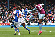 Aston Villa Forward, Jonathan Kodjia (26) shoots during the EFL Sky Bet Championship match between Blackburn Rovers and Aston Villa at Ewood Park, Blackburn, England on 29 April 2017. Photo by Mark Pollitt.