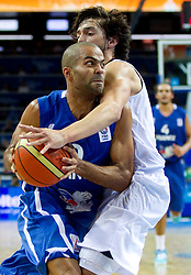 Tony Parker of France vs Sergio Llull of Spain during final basketball game between National basketball teams of Spain and France at FIBA Europe Eurobasket Lithuania 2011, on September 18, 2011, in Arena Zalgirio, Kaunas, Lithuania. (Photo by Vid Ponikvar / Sportida)