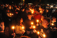 """A crowd participates in a candlelight vigil titled """"We Are One Mississippi"""" at the University of Mississippi in Oxford, Miss. on Wednesday, November 7, 2012.The vigil was in response to protests that happened on campus after President Barack Obama was re-elected."""