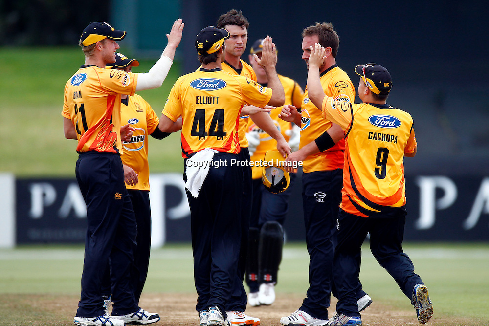 The Firebords celebrate during the HRV Cup match between the Northern Knight v Wellington Firebirds. Men's domestic one day cricket. Blake Park, Mt Maunganui, New Zealand. 4 January 2012. Ella Brockelsby / photosport.co.nz
