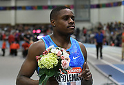 Feb 10, 2018; Boston, Massachussetts, USA; Christian Coleman (USA) poses after winning the 60m in 6.46 during the New Balance Indoor Grand Prix at Reggie Lewis Center.