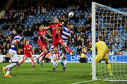 Aaron Wilbraham of Bristol City heads over the bar late in the game - Rogan Thomson/JMP - 18/10/2016 - FOOTBALL - Loftus Road Stadium - London, England - Queens Park Rangers v Bristol City - Sky Bet EFL Championship.