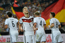 06.06.2014, Coface Arena, Mainz, GER, FIFA WM, Testspiel, Deutschland vs Armenien, im Bild TOR zum 1:0 durch Andre Schuerrle (GER) Torjubel, Jubel, Freude, Emotion mit der Mannschaft deutsche Flaggen Flagge // during friendly match between Germany and Armenia for Preparation of the FIFA Worldcup Brasil 2014 at the Coface Arena in Mainz, Germany on 2014/06/06. EXPA Pictures © 2014, PhotoCredit: EXPA/ Eibner-Pressefoto/ Weber<br /> <br /> *****ATTENTION - OUT of GER*****
