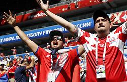 Samara, June 17, 2018  Fans of Costa Rica cheer before a group E match between Costa Rica and Serbia at the 2018 FIFA World Cup in Samara, Russia, June 17, 2018. (Credit Image: © Ye Pingfan/Xinhua via ZUMA Wire)